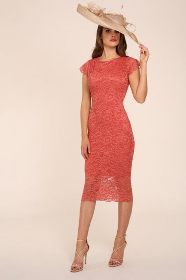 Faye Coral Backless Lace Midi With Cap Sleeves