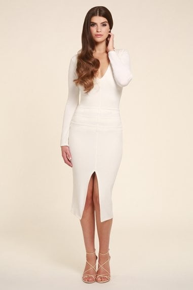 Jessica White Midi Dress With long Sleeves
