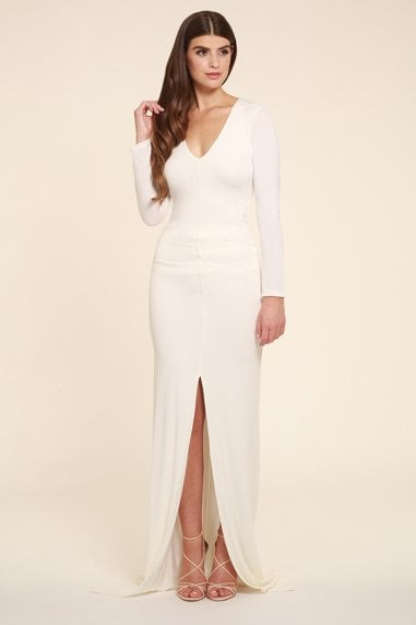 Jessica White Maxi Dress With long Sleeves