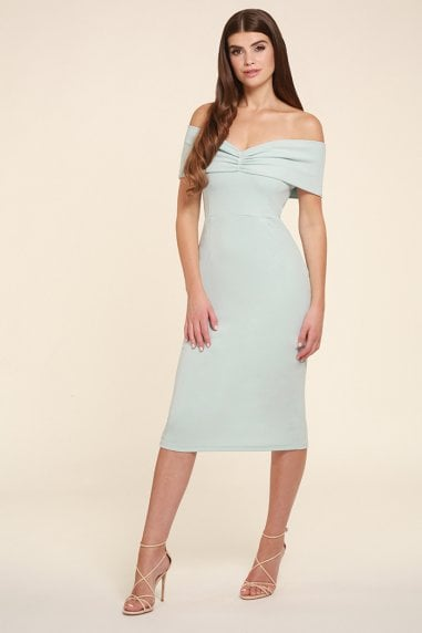 Mila Mint Multi Way Bardot Midi Dress