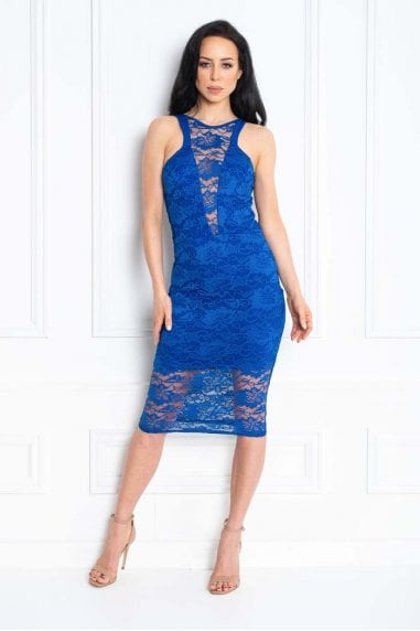 LACEY BLUE LACE MIDI DRESS