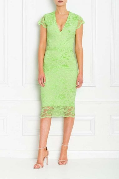 ADRIANNA LIME GREEN LACE MIDI
