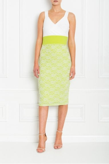 MADISON LIME GREEN AND WHITE LACE MIDI DRESS