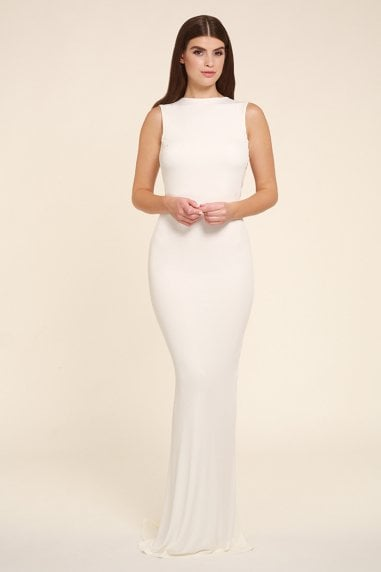 Bella white sleeveless maxi dress