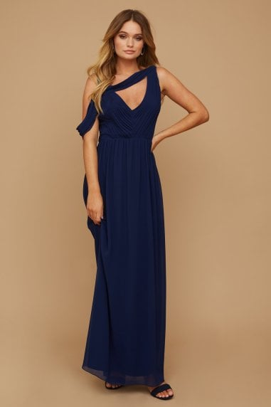 Bridesmaid Sasha Navy Asymmetric Cut-Out Detail Maxi Dress