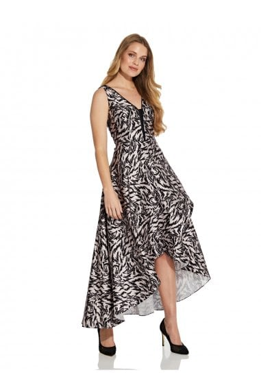 Animal Printed Mikado Gown In Black/Taupe