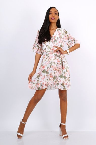 Summer Mini Wrap Dress With Frill Hem In White Floral Print