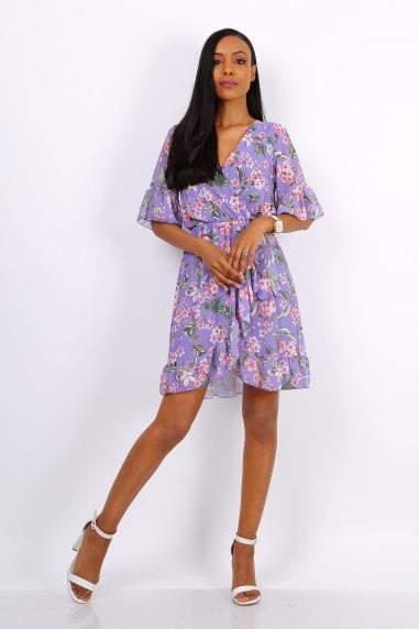 Summer Mini Wrap Dress With Frill Hem In Purple Floral Print
