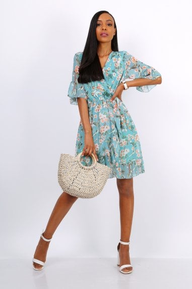 Summer Mini Wrap Dress With Frill Hem In Mint Green Floral Print