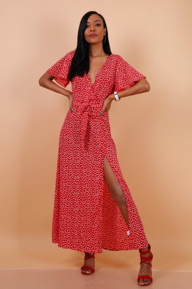Wrap Front Split Leg Maxi Dress In Red Daisy Dot Print