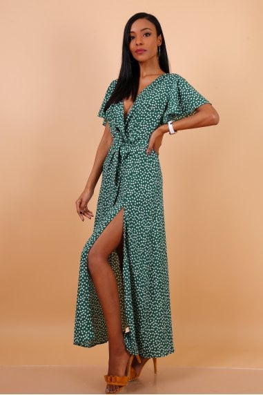 Wrap Front Split Leg Maxi Dress In Green Daisy Dot Print