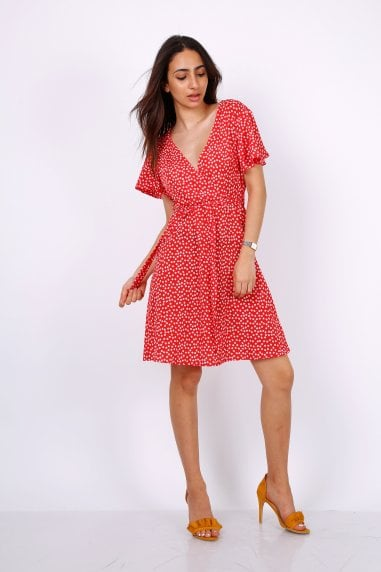 Summer Red Daisy Dot Wrap Front Mini Dress