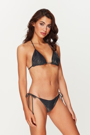 Black Metallic Tie Side Bottoms