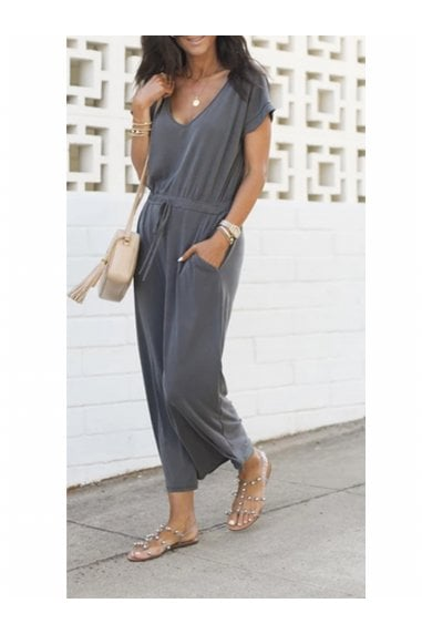 Charcoal Grey Loose Jumpsuit With Short Sleeve