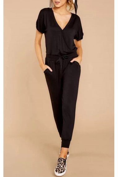 Stretch Wrap Jumpsuit With V Neck In Black