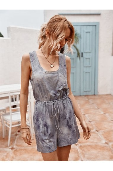 Tie Dye Relaxed Summer Playsuit In Grey