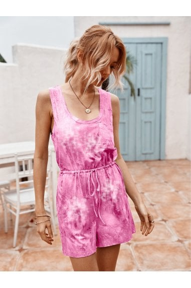 Tie Dye Relaxed Summer Playsuit In Pink