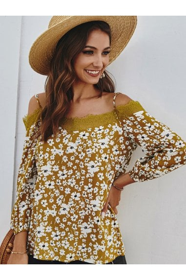 Lace Trim Off The Shoulder Top In Mustard Daisy Floral Print