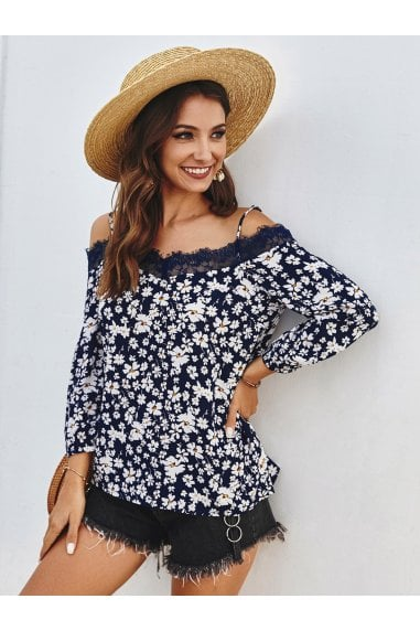 Lace Trim Off The Shoulder Top In Navy Daisy Floral Print