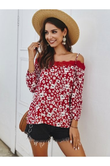 Daisy Floral Print In Red Long Sleeve Lace Trim Cold Shoulder Cami Top