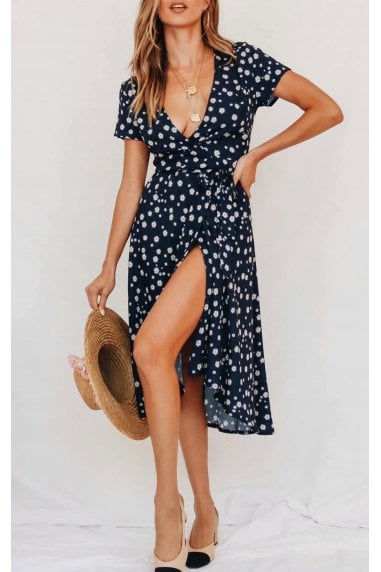 Wrap Midi Dress In Navy Daisy Floral Print
