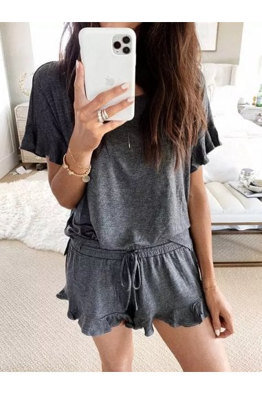 Charcoal Grey Frill Detail Tshirt Top And Shorts Set