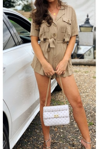 Belted Button Front Playsuit In Khaki