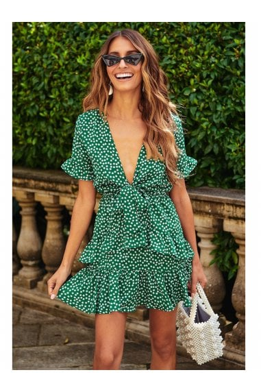 Frill Skater Mini Dress In Green With White Little Floral Print