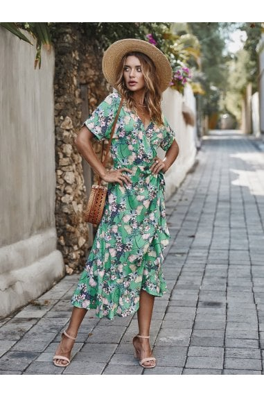 Summer Wrap Midi Dress In Mint Floral Print