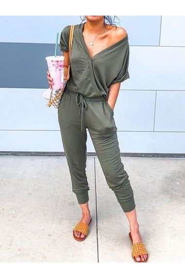 Stretch Wrap Jumpsuit With V Neck In Olive Green