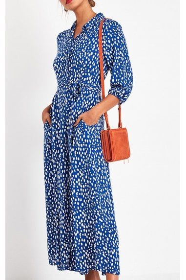Shirt Dress In Royal Blue & White Spot Print