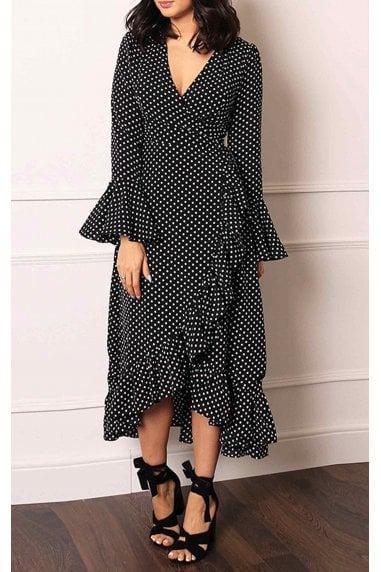 Wrap Dress With Frill Sleeve In Black & White Polka Dot