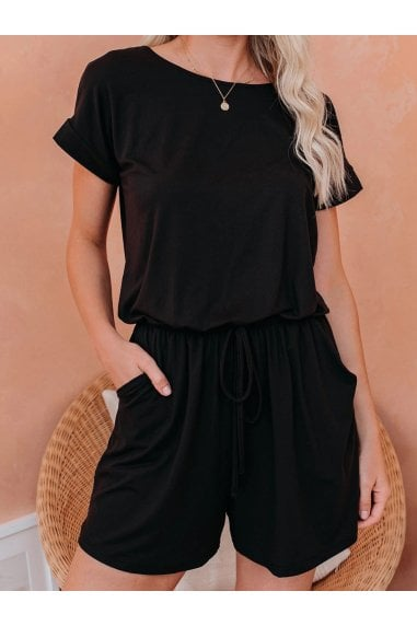 Playsuit With Short Sleeve In Black