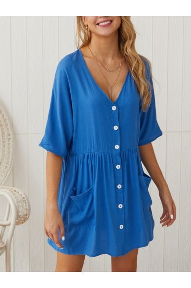 Button Front V Neck Mini Dress Blue