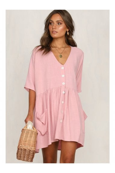 Button Front V Neck Mini Dress Pink