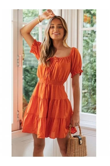 Linen Short Sleeve Layered Mini Dress In Orange