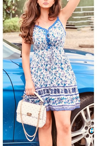 Summer Mini Dress With Frill Detail In White & Blue Star Floral Print