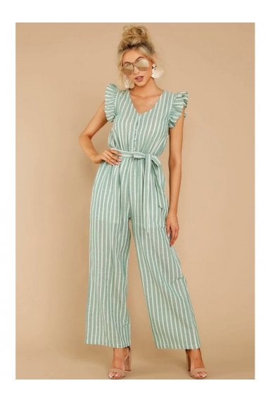 Mint Green Stripe Sleeveless Jumpsuit With V Neckline