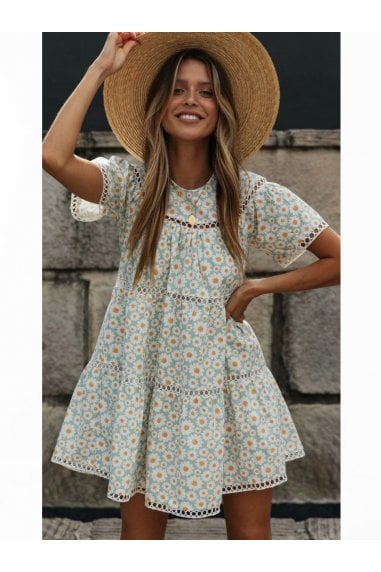 Short Sleeve Tiered Mini Dress In Pale Blue Daisy Floral Print