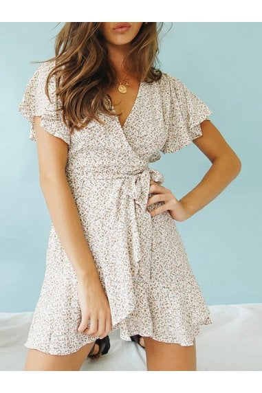 Summer Mini Skater Dress In White & Pink Floral & Green Leaf Print