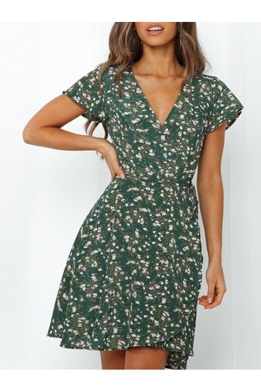 Summer Mini Wrap Dress In Dark Green Print