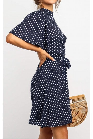 High Neck Mini Dress With Frill Hem And Navy & White Polka Dot