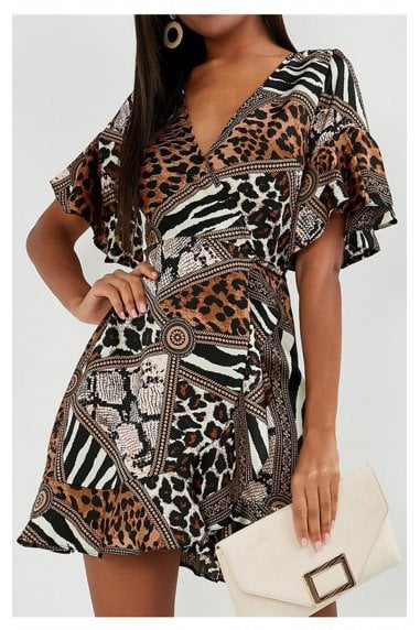 Angel Sleeve Skater Wrap Dress In Animal Print