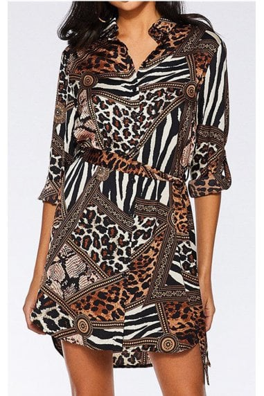Animal Print Shirt Dress In Brown