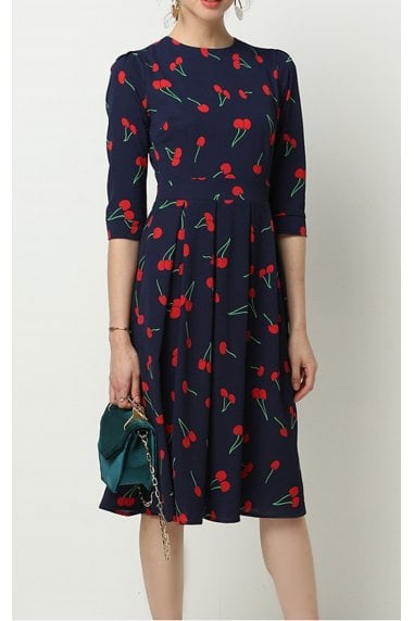 Navy & Red Cherry Printed Three Quarter Sleeve Pleated Dress
