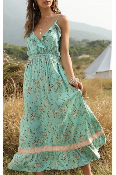 Summer Frill Dress In Mint Green Floral Print