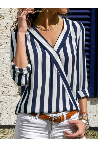 Blue & White Breton Striped Long Sleeve Top