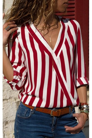 Red & White Breton Striped Long Sleeve Top