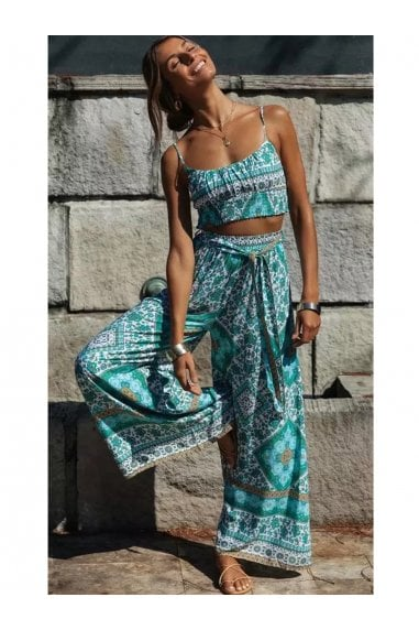 Summer Bralet Top And Pants In Mint Mixed Print