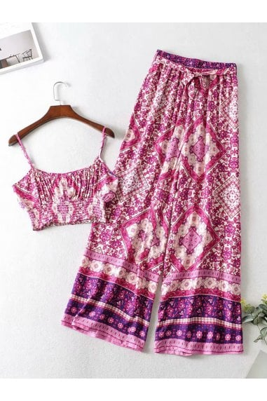 Summer Bralet Top And Pants In Pink & Purple Mixed Print